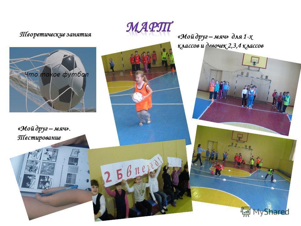 «Мой друг – мяч» для 1-х классов и девочек 2,3,4 классов «Мой друг – мяч». Тестирование Теоретические занятия Что такое футбол