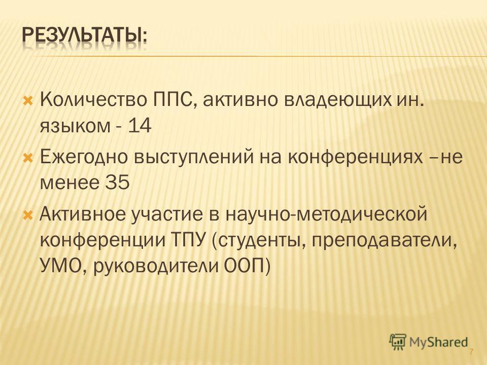 Количество ППС, активно владеющих ин. языком - 14 Ежегодно выступлений на конференциях –не менее 35 Активное участие в научно-методической конференции ТПУ (студенты, преподаватели, УМО, руководители ООП) 7