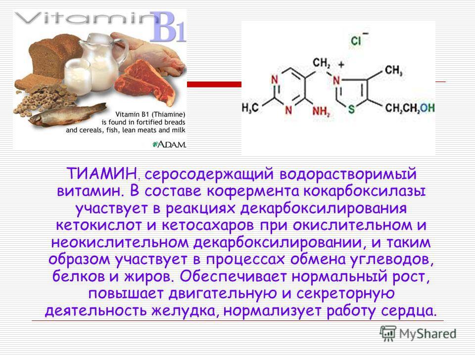ТИАМИН, серосодержащий водорастворимый витамин. В составе кофермента кокарбоксилазы участвует в реакциях декарбоксилирования кетокислот и кетосахаров при окислительном и неокислительном декарбоксилировании, и таким образом участвует в процессах обмен