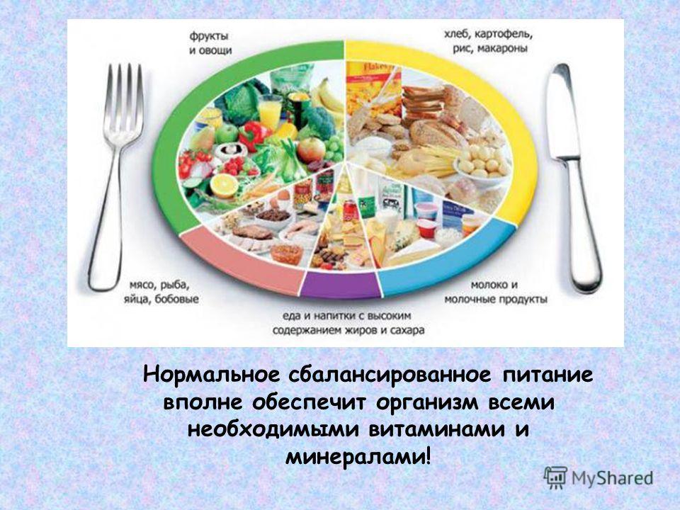 Нормальное сбалансированное питание вполне обеспечит организм всеми необходимыми витаминами и минералами!