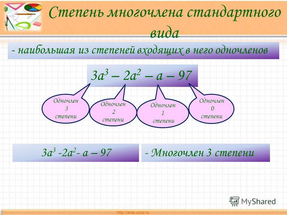 Степень многочлена стандартного вида - наибольшая из степеней входящих в него одночленов 3a 3 – 2a 2 – a – 97 Одночлен 3 степени Одночлен 2 степени Одночлен 0 степени Одночлен 1 степени 3a 3 -2a 2 - a – 97- Многочлен 3 степени