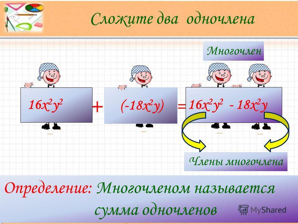 + = Определение: Многочленом называется сумма одночленов Сложите два одночлена (-18х 2 у) 16х 2 у 2 16х 2 у 2 - 18х 2 у Многочлен Члены многочлена