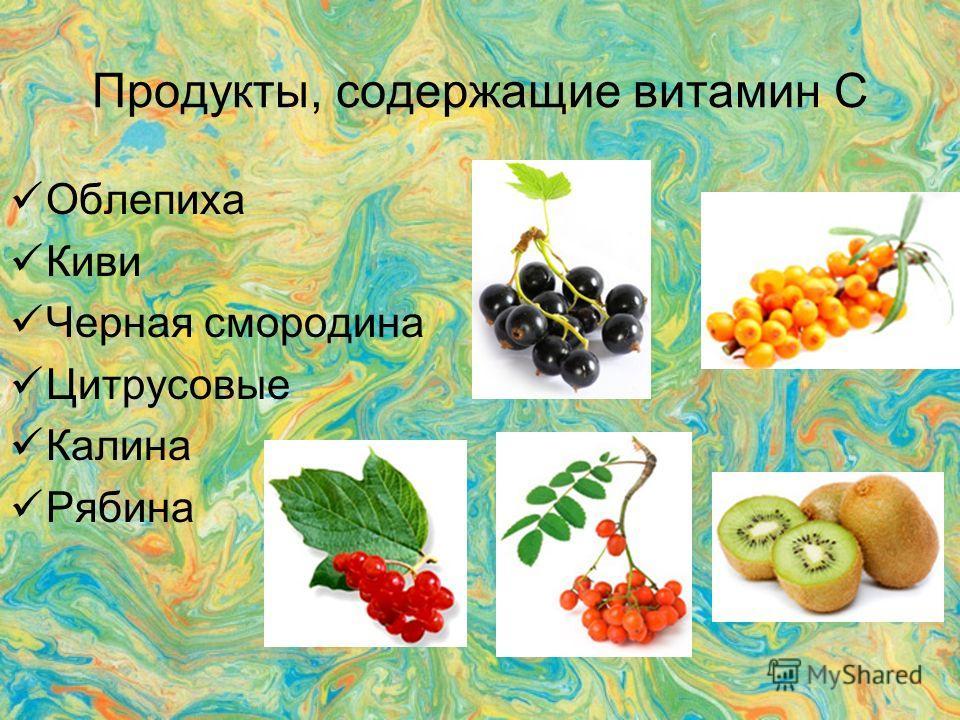 Продукты, содержащие витамин С Облепиха Киви Черная смородина Цитрусовые Калина Рябина