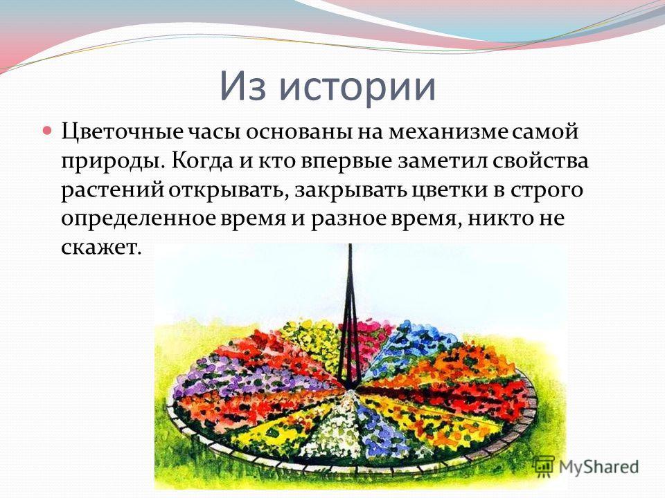 Из истории Цветочные часы основаны на механизме самой природы. Когда и кто впервые заметил свойства растений открывать, закрывать цветки в строго определенное время и разное время, никто не скажет.