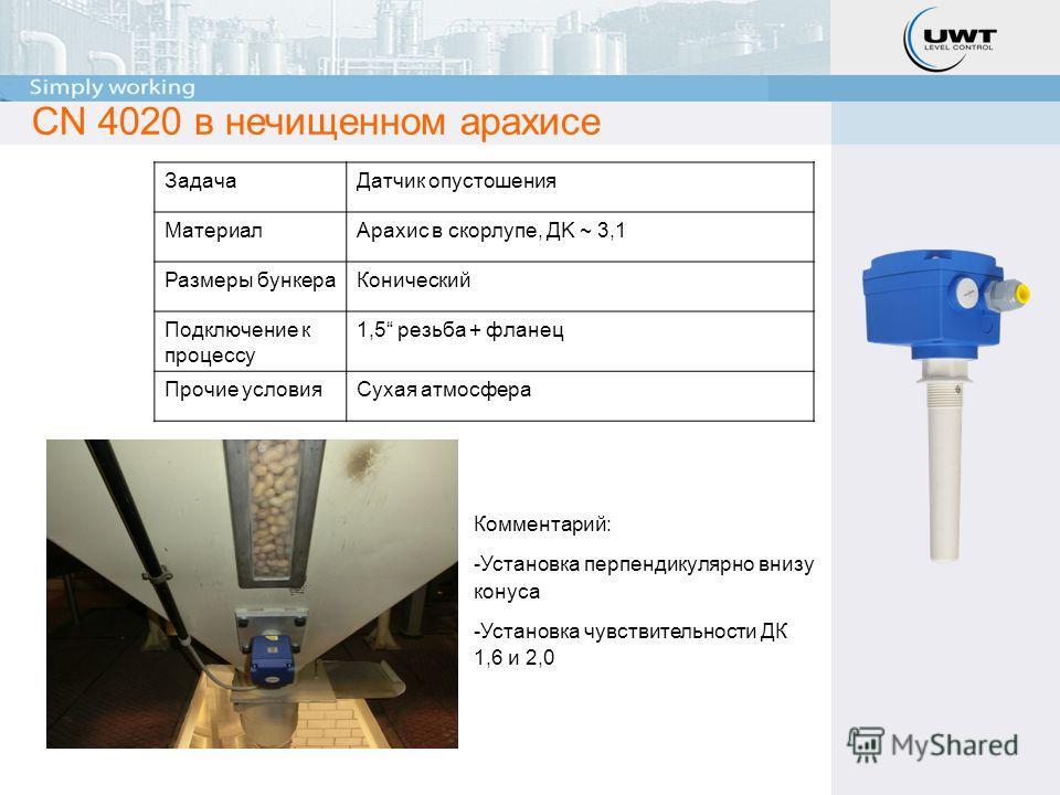 CN 4020 в нечищенном арахисе Комментарий: -Установка перпендикулярно внизу конуса -Установка чувствительности ДК 1,6 и 2,0 ЗадачаДатчик опустошения МатериалАрахис в скорлупе, ДK ~ 3,1 Размеры бункераКонический Подключение к процессу 1,5 резьба + флан