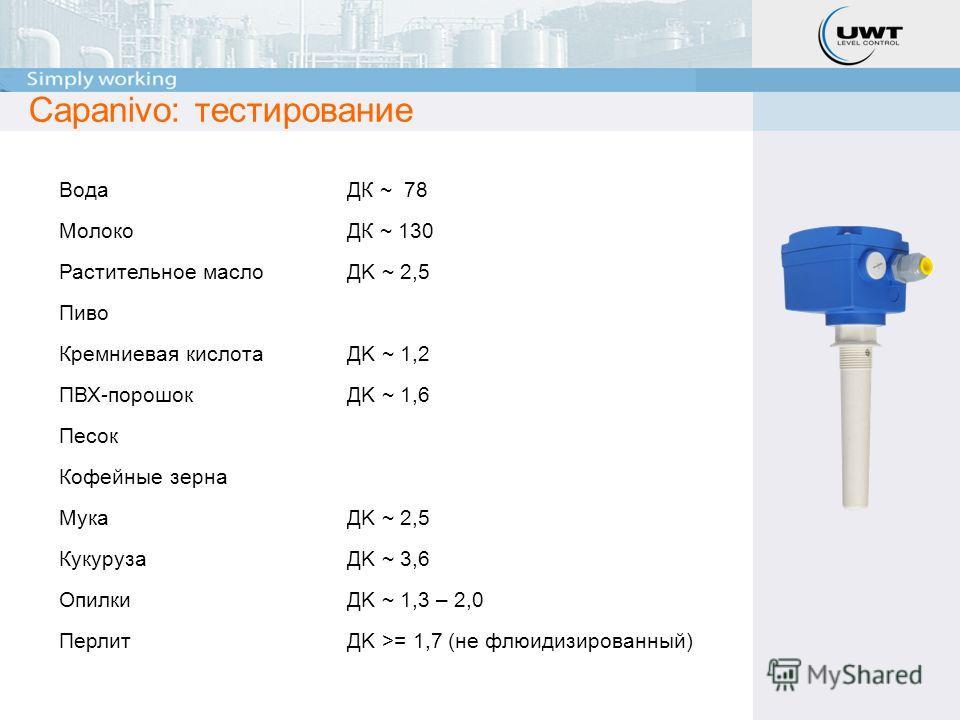 Вода ДК ~ 78 МолокоДК ~ 130 Растительное маслоДK ~ 2,5 Пиво Кремниевая кислотаДK ~ 1,2 ПВХ-порошокДK ~ 1,6 Песок Кофейные зерна МукаДK ~ 2,5 КукурузаДK ~ 3,6 ОпилкиДK ~ 1,3 – 2,0 ПерлитДK >= 1,7 (не флюидизированный) Capanivo: тестирование