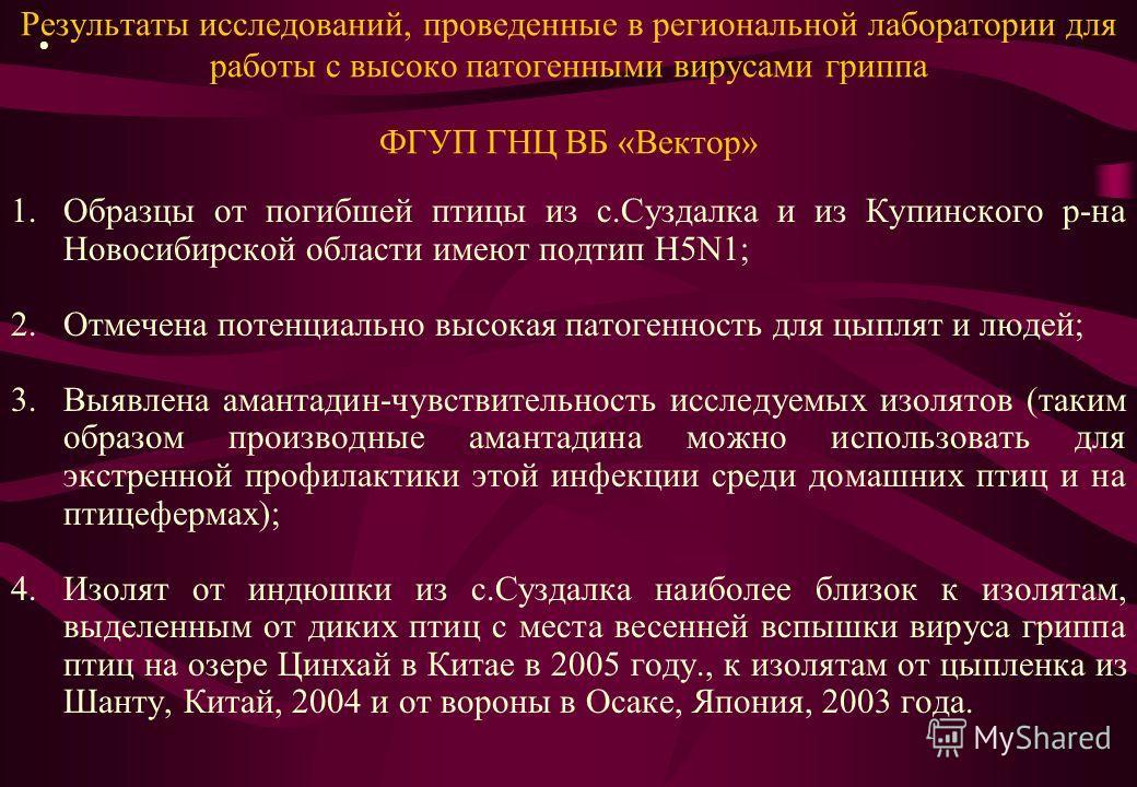 Результаты исследований, проведенные в региональной лаборатории для работы с высоко патогенными вирусами гриппа ФГУП ГНЦ ВБ «Вектор» 1.Образцы от погибшей птицы из с.Суздалка и из Купинского р-на Новосибирской области имеют подтип Н5N1; 2.Отмечена по