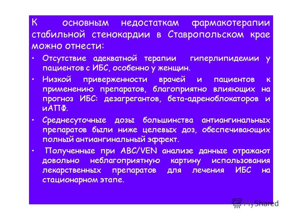 К основным недостаткам фармакотерапии стабильной стенокардии в Ставропольском крае можно отнести: Отсутствие адекватной терапии гиперлипидемии у пациентов с ИБС, особенно у женщин. Низкой приверженности врачей и пациентов к применению препаратов, бла