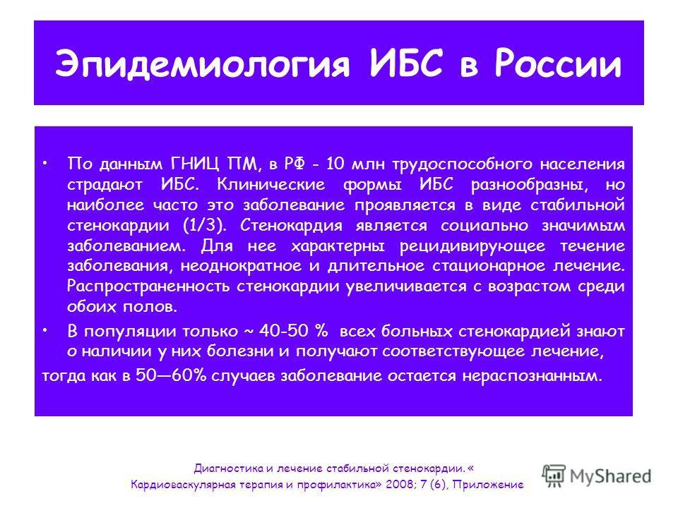 Эпидемиология ИБС в России По данным ГНИЦ ПМ, в РФ - 10 млн трудоспособного населения страдают ИБС. Клинические формы ИБС разнообразны, но наиболее часто это заболевание проявляется в виде стабильной стенокардии (1/3). Стенокардия является социально