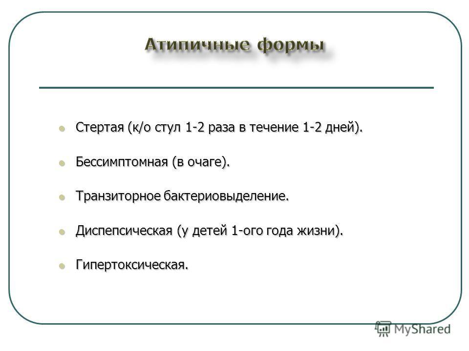 Стертая (к/о стул 1-2 раза в течение 1-2 дней). Стертая (к/о стул 1-2 раза в течение 1-2 дней). Бессимптомная (в очаге). Бессимптомная (в очаге). Транзиторное бактериовыделение. Транзиторное бактериовыделение. Диспепсическая (у детей 1-ого года жизни