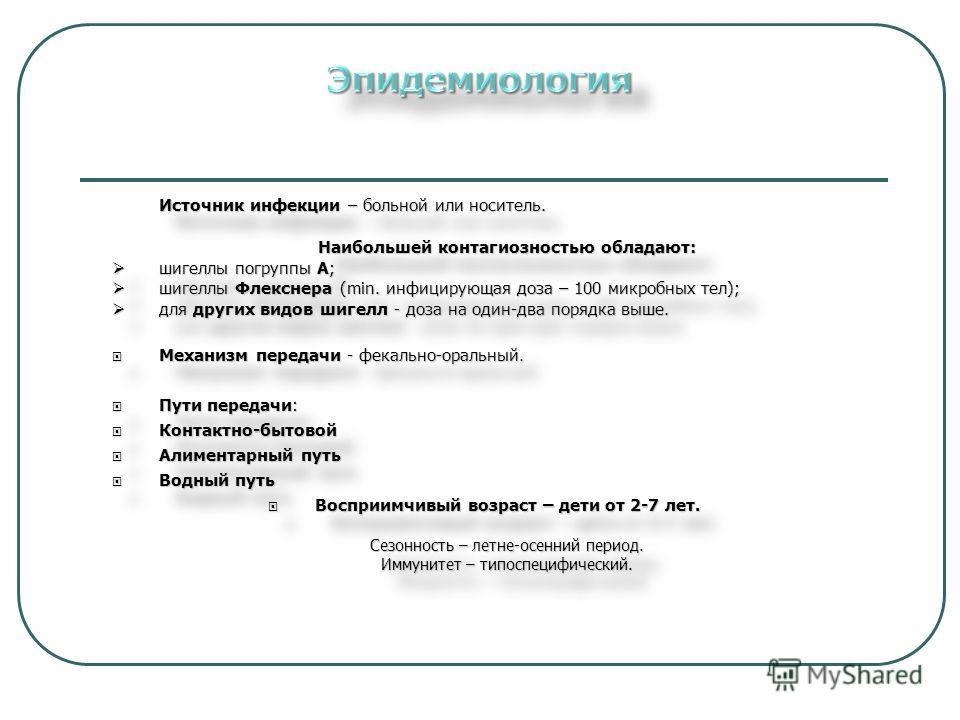 Источник инфекции – больной или носитель. Наибольшей контагиозностью обладают: шигеллы погруппы А; шигеллы погруппы А; шигеллы Флекснера (min. инфицирующая доза – 100 микробных тел); шигеллы Флекснера (min. инфицирующая доза – 100 микробных тел); для