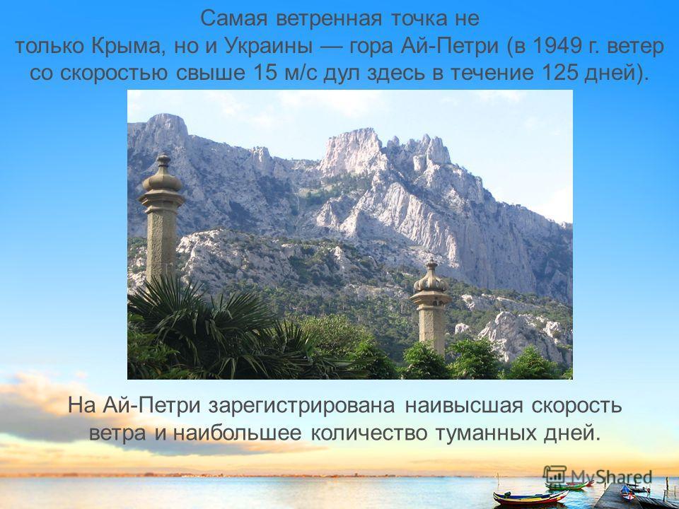 Самая ветренная точка не только Крыма, но и Украины гора Ай-Петри (в 1949 г. ветер со скоростью свыше 15 м/с дул здесь в течение 125 дней). На Ай-Петри зарегистрирована наивысшая скорость ветра и наибольшее количество туманных дней.