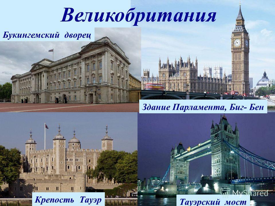 Великобритания Букингемский дворец Тауэрский мост Здание Парламента, Биг- Бен Крепость Тауэр