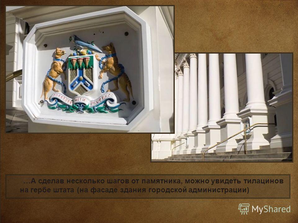 …А сделав несколько шагов от памятника, можно увидеть тилацинов на гербе штата (на фасаде здания городской администрации)