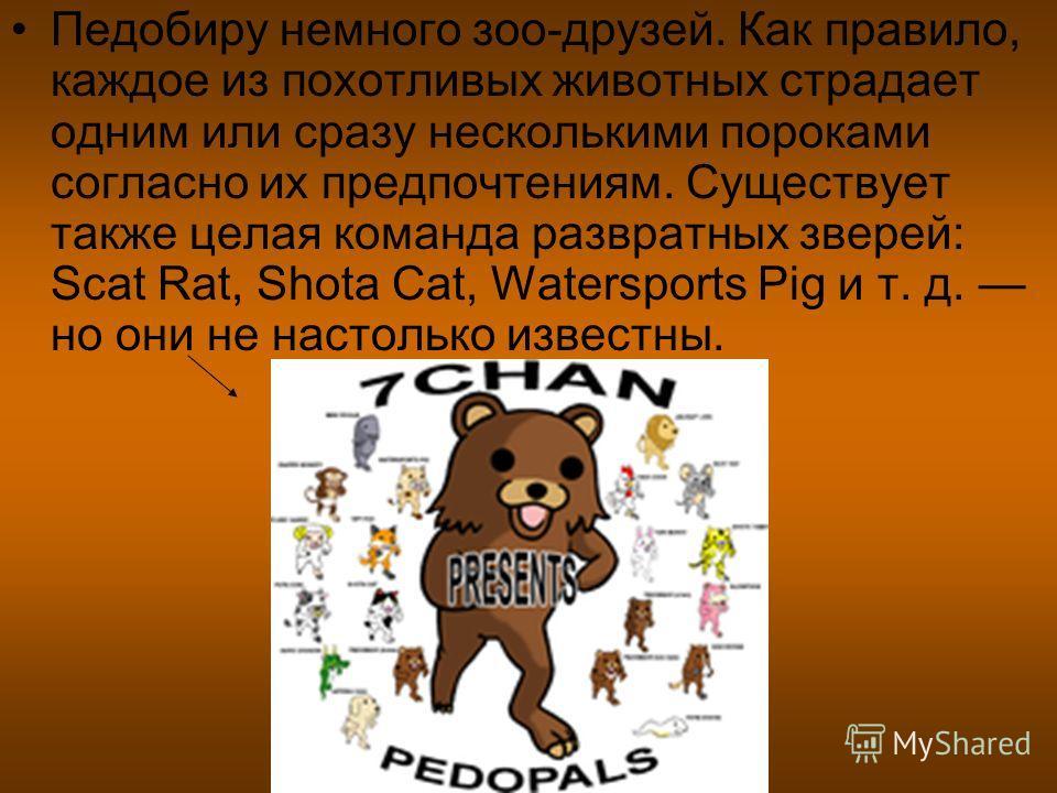 Педобиру немного зоо-друзей. Как правило, каждое из похотливых животных страдает одним или сразу несколькими пороками согласно их предпочтениям. Существует также целая команда развратных зверей: Scat Rat, Shota Cat, Watersports Pig и т. д. но они не