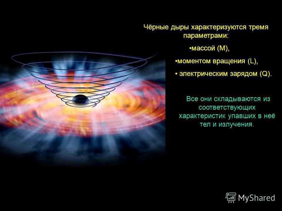 Чёрные дыры характеризуются тремя параметрами: массой (M), моментом вращения (L), электрическим зарядом (Q). Все они складываются из соответствующих характеристик упавших в неё тел и излучения.