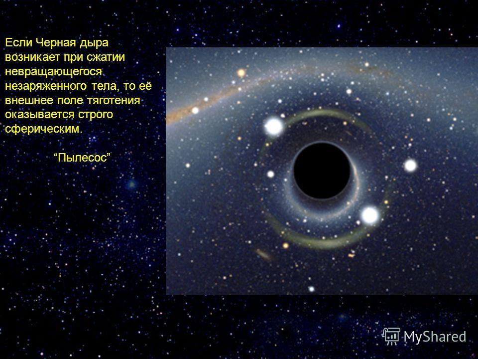 Если Черная дыра возникает при сжатии невращающегося незаряженного тела, то её внешнее поле тяготения оказывается строго сферическим. Пылесос