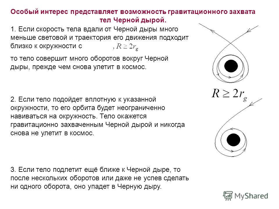 Особый интерес представляет возможность гравитационного захвата тел Черной дырой. 1. Если скорость тела вдали от Черной дыры много меньше световой и траектория его движения подходит близко к окружности с, то тело совершит много оборотов вокруг Черной