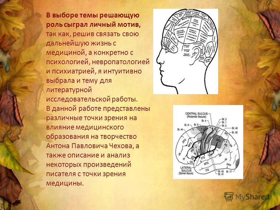 В выборе темы решающую роль сыграл личный мотив, так как, решив связать свою дальнейшую жизнь с медициной, а конкретно с психологией, невропатологией и психиатрией, я интуитивно выбрала и тему для литературной исследовательской работы. В данной работ