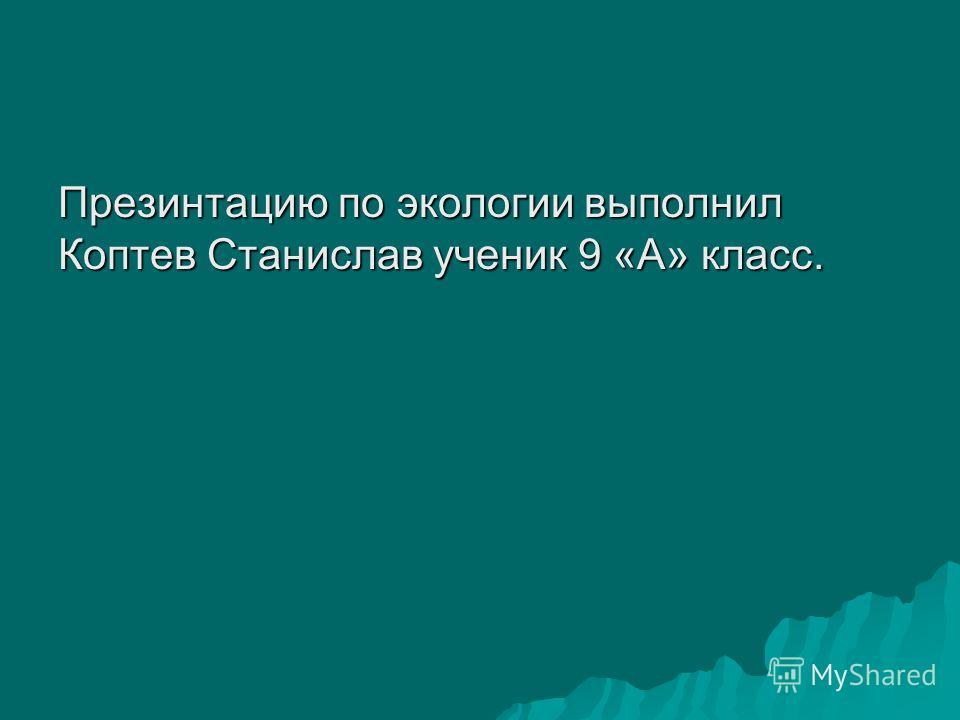 Презинтацию по экологии выполнил Коптев Станислав ученик 9 «А» класс.