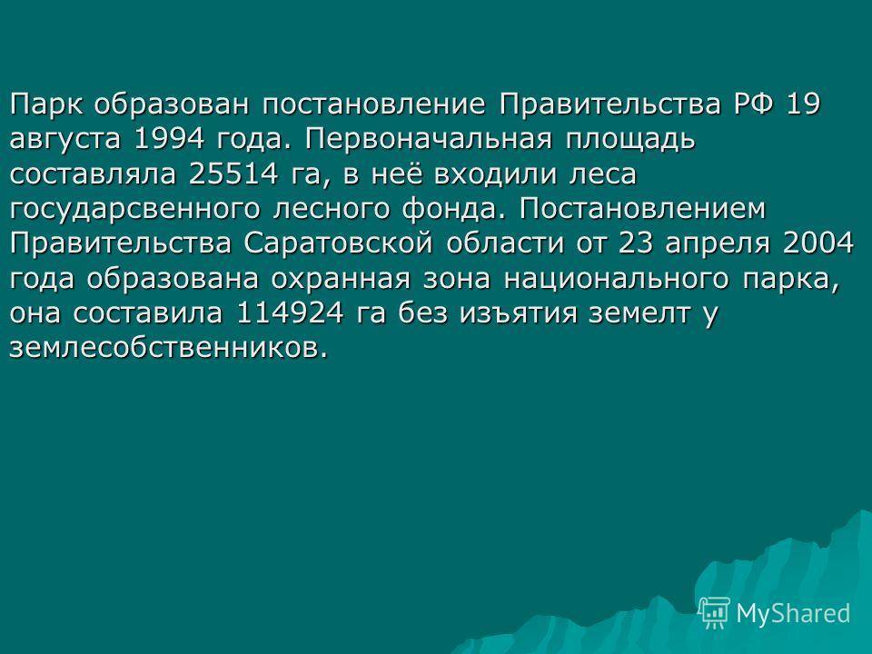 Парк образован постановление Правительства РФ 19 августа 1994 года. Первоначальная площадь составляла 25514 га, в неё входили леса государсвенного лесного фонда. Постановлением Правительства Саратовской области от 23 апреля 2004 года образована охран