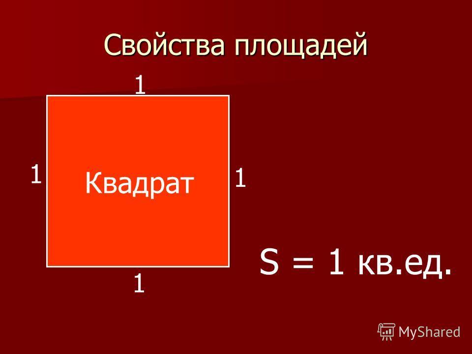 Свойства площадей 1 1 1 1 S = 1 кв.ед. Квадрат