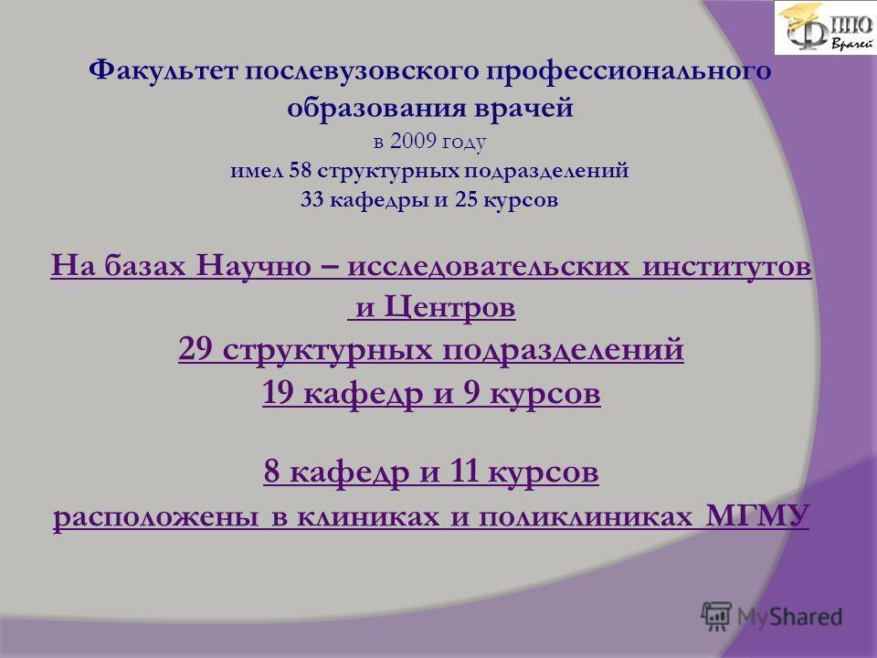 Факультет послевузовского профессионального образования врачей в 2009 году имел 58 структурных подразделений 33 кафедры и 25 курсов На базах Научно – исследовательских институтов и Центров 29 структурных подразделений 19 кафедр и 9 курсов 8 кафедр и
