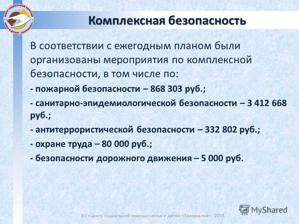 В соответствии с ежегодным планом были организованы мероприятия по комплексной безопасности, в том числе по: - пожарной безопасности – 868 303 руб.; - санитарно-эпидемиологической безопасности – 3 412 668 руб.; - антитеррористической безопасности – 3