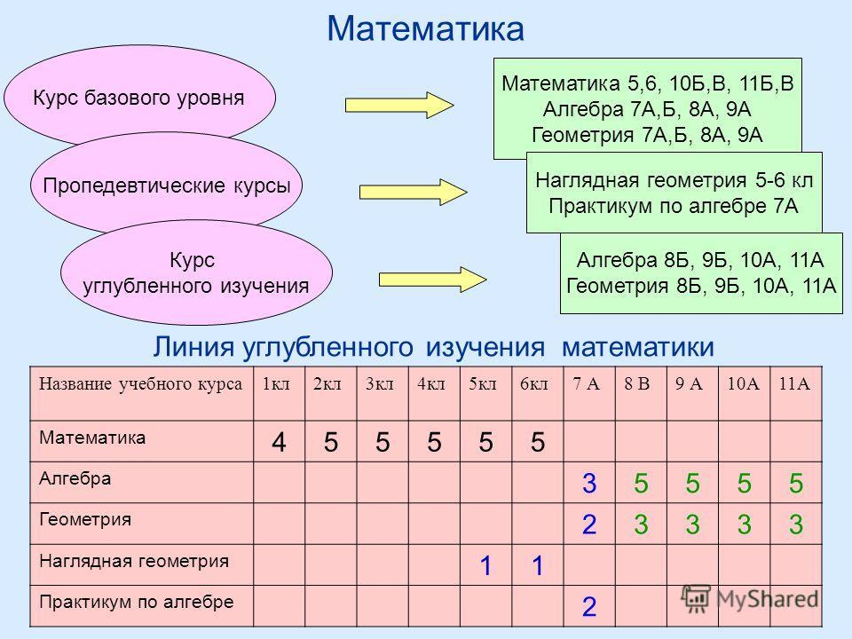 Математика Курс базового уровня Математика 5,6, 10Б,В, 11Б,В Алгебра 7А,Б, 8А, 9А Геометрия 7А,Б, 8А, 9А Пропедевтические курсы Наглядная геометрия 5-6 кл Практикум по алгебре 7А Курс углубленного изучения Алгебра 8Б, 9Б, 10А, 11А Геометрия 8Б, 9Б, 1