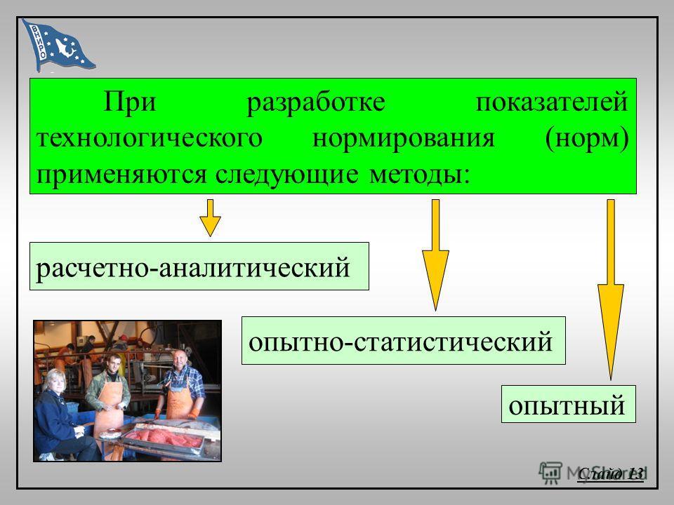 расчетно-аналитический При разработке показателей технологического нормирования (норм) применяются следующие методы: опытный опытно-статистический Слайд 13