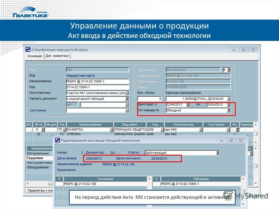 Управление данными о продукции Акт ввода в действие обходной технологии На период действия Акта МК становится действующей и активной