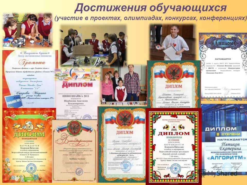 Достижения обучающихся (участие в проектах, олимпиадах, конкурсах, конференциях)