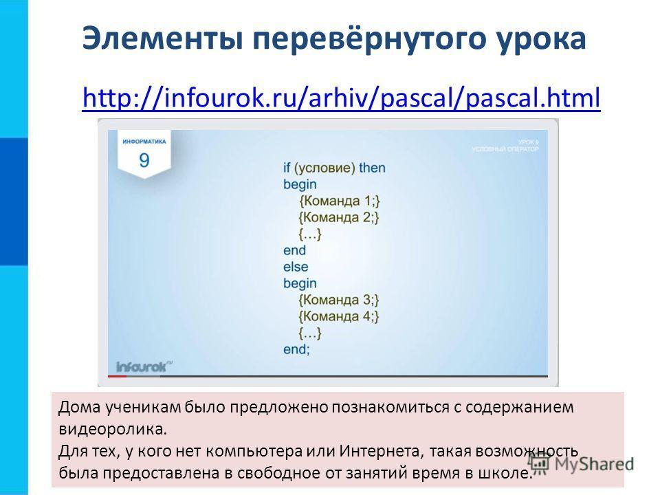 Элементы перевёрнутого урока http://infourok.ru/arhiv/pascal/pascal.html Дома ученикам было предложено познакомиться с содержанием видеоролика. Для тех, у кого нет компьютера или Интернета, такая возможность была предоставлена в свободное от занятий