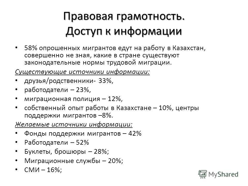 Правовая грамотность. Доступ к информации 58% опрошенных мигрантов едут на работу в Казахстан, совершенно не зная, какие в стране существуют законодательные нормы трудовой миграции. Существующие источники информации: друзья/родственники- 33%, работод