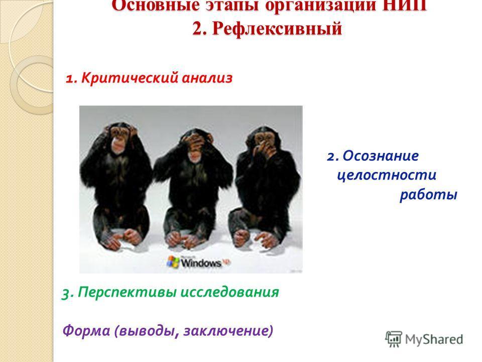 Основные этапы организации НИП 2. Рефлексивный Основные этапы организации НИП 2. Рефлексивный 1. Критический анализ 2. Осознание целостности работы 3. Перспективы исследования Форма ( выводы, заключение )