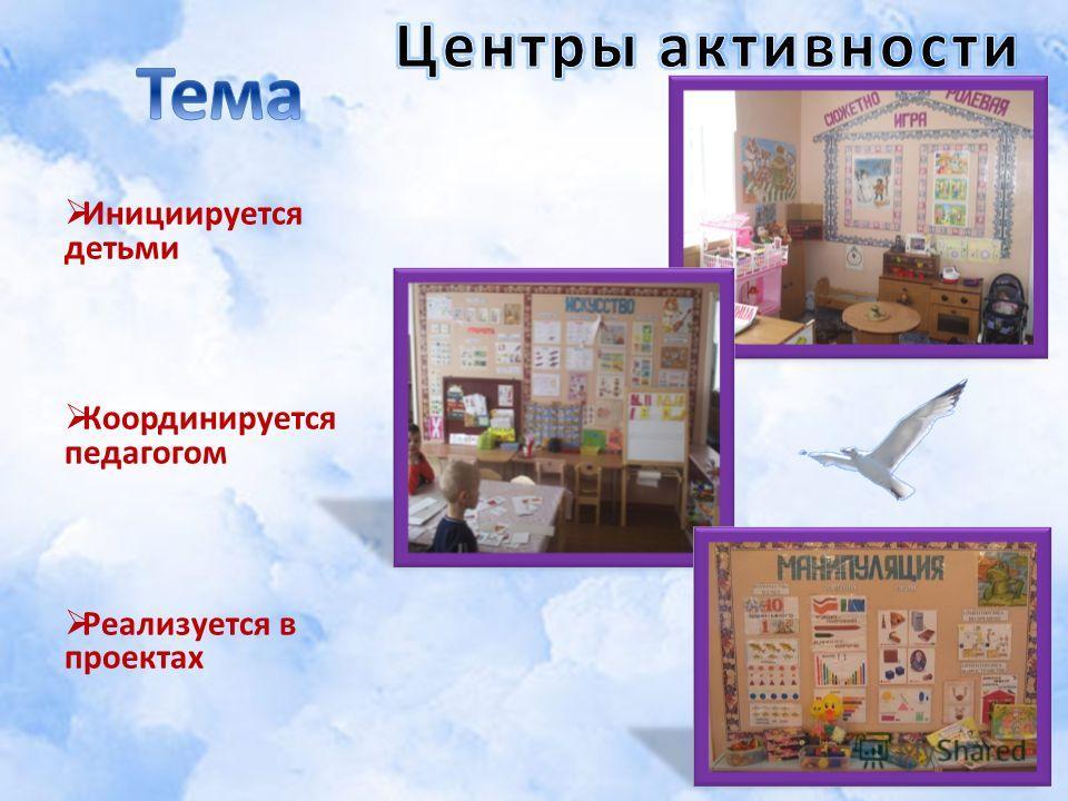 Инициируется детьми Координируется педагогом Реализуется в проектах