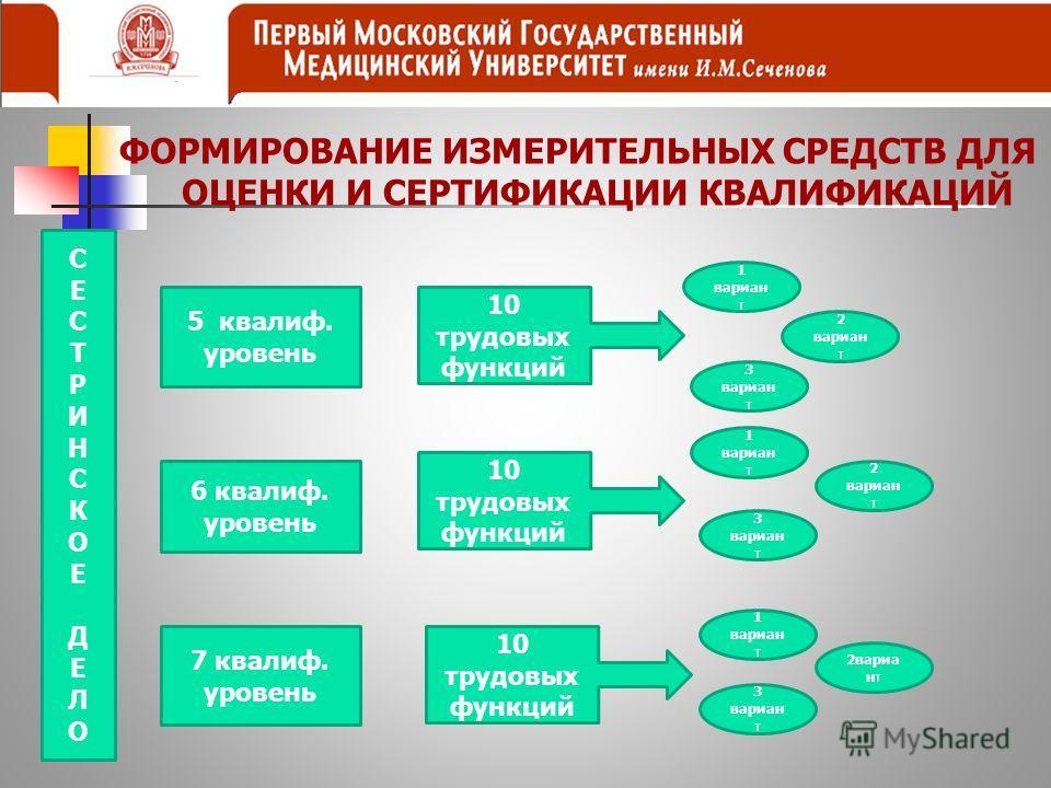 ФОРМИРОВАНИЕ ИЗМЕРИТЕЛЬНЫХ СРЕДСТВ ДЛЯ ОЦЕНКИ И СЕРТИФИКАЦИИ КВАЛИФИКАЦИЙ СЕСТРИНСКОЕДЕЛОСЕСТРИНСКОЕДЕЛО 5 квалиф. уровень 6 квалиф. уровень 7 квалиф. уровень 1 вариан т 2 вариан т 3 вариан т 1 вариан т 3 вариан т 2 вариан т 10 трудовых функций