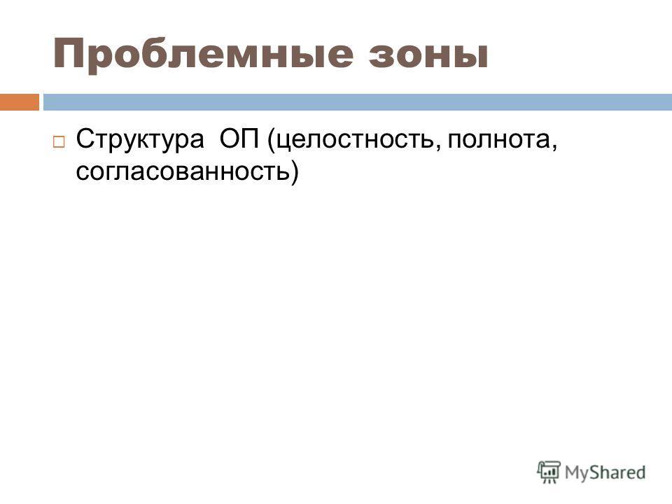 Проблемные зоны Структура ОП (целостность, полнота, согласованность)