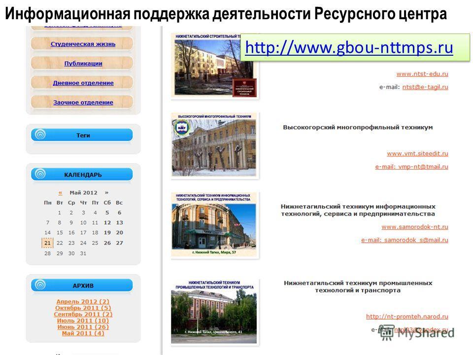 Информационная поддержка деятельности Ресурсного центра http://www.gbou-nttmps.ru