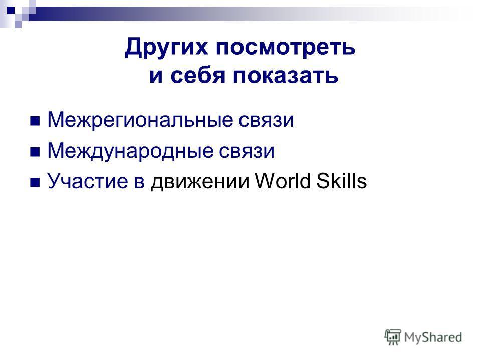 Других посмотреть и себя показать Межрегиональные связи Международные связи Участие в движении World Skills