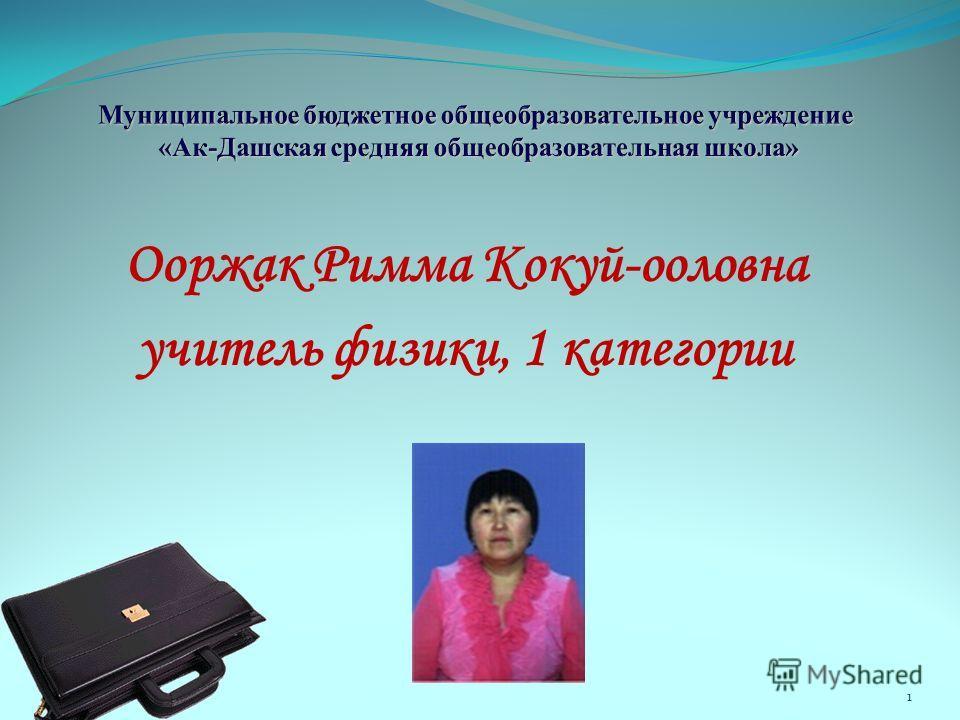 Ооржак Римма Кокуй-ооловна учитель физики, 1 категории 1