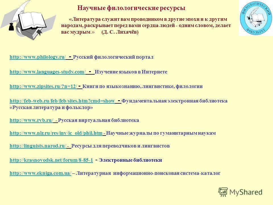 http://www.philology.ru/ http://www.philology.ru/ - Русский филологический портал http://www.languages-study.com/ http://www.languages-study.com/ - Изучение языков в Интернете http://www.zipsites.ru/?n=12/ http://www.zipsites.ru/?n=12/ - Книги по язы
