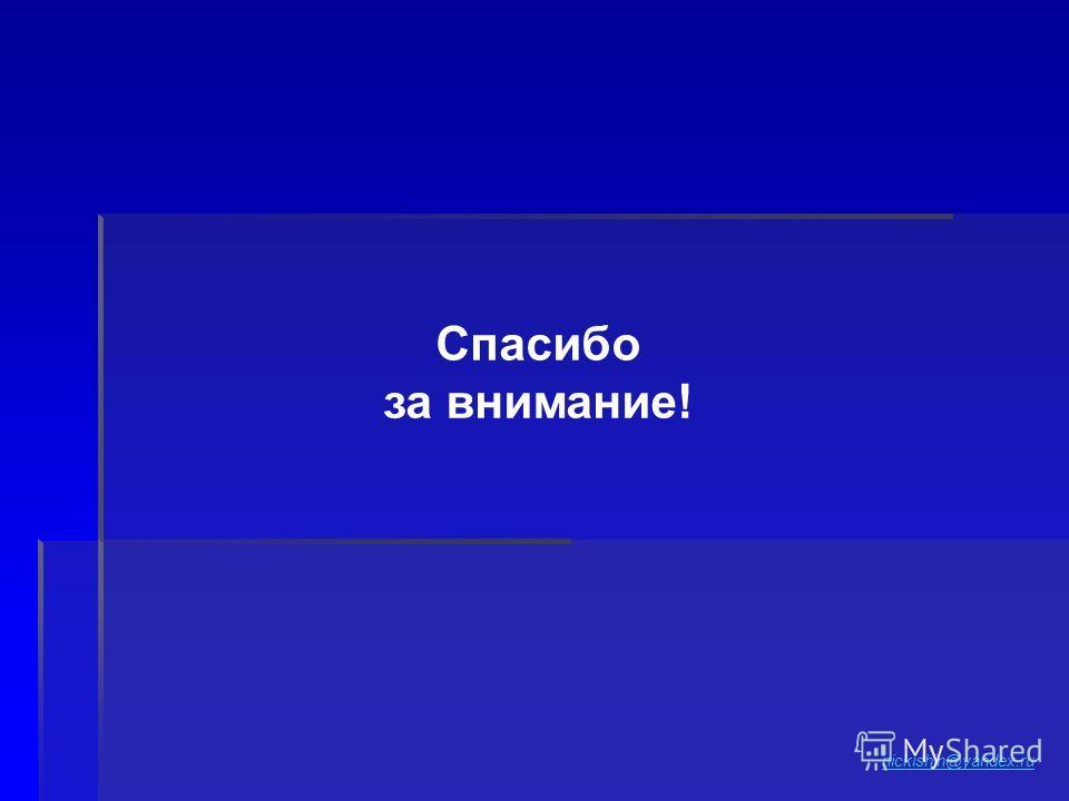 Спасибо за внимание! nickishin@yandex.ru