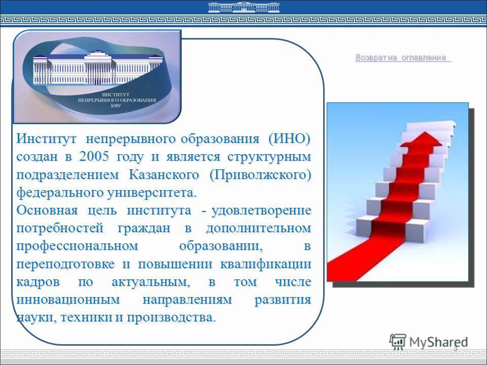 Институт непрерывного образования (ИНО) создан в 2005 году и является структурным подразделением Казанского (Приволжского) федерального университета. Основная цель института - удовлетворение потребностей граждан в дополнительном профессиональном обра