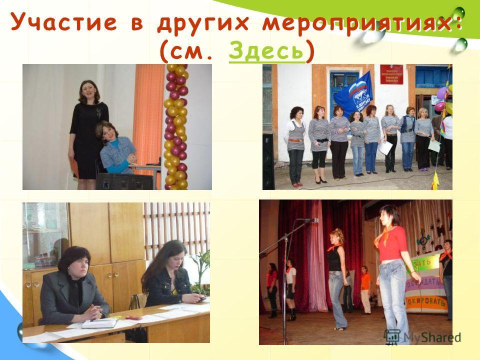 Участие в других мероприятиях: (см. Здесь)Здесь Участие в других мероприятиях: (см. Здесь)Здесь
