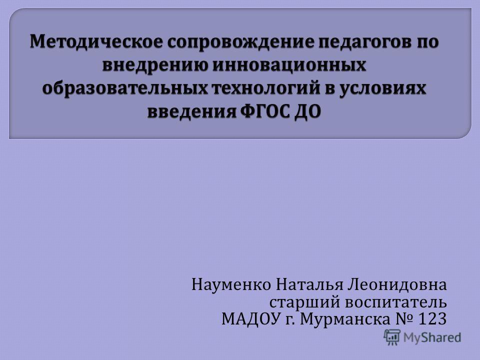 Науменко Наталья Леонидовна старший воспитатель МАДОУ г. Мурманска 123