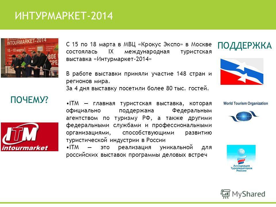 ИНТУРМАРКЕТ-2014 С 15 по 18 марта в МВЦ «Крокус Экспо» в Москве состоялась IX международная туристская выставка «Интурмаркет-2014» В работе выставки приняли участие 148 стран и регионов мира. За 4 дня выставку посетили более 80 тыс. гостей. ITM главн