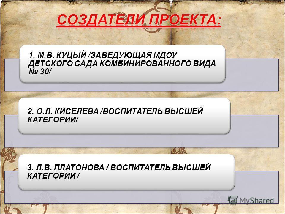 1. М.В. КУЦЫЙ /ЗАВЕДУЮЩАЯ МДОУ ДЕТСКОГО САДА КОМБИНИРОВАННОГО ВИДА 30/ 2. О.Л. КИСЕЛЕВА /ВОСПИТАТЕЛЬ ВЫСШЕЙ КАТЕГОРИИ/ 3. Л.В. ПЛАТОНОВА / ВОСПИТАТЕЛЬ ВЫСШЕЙ КАТЕГОРИИ /