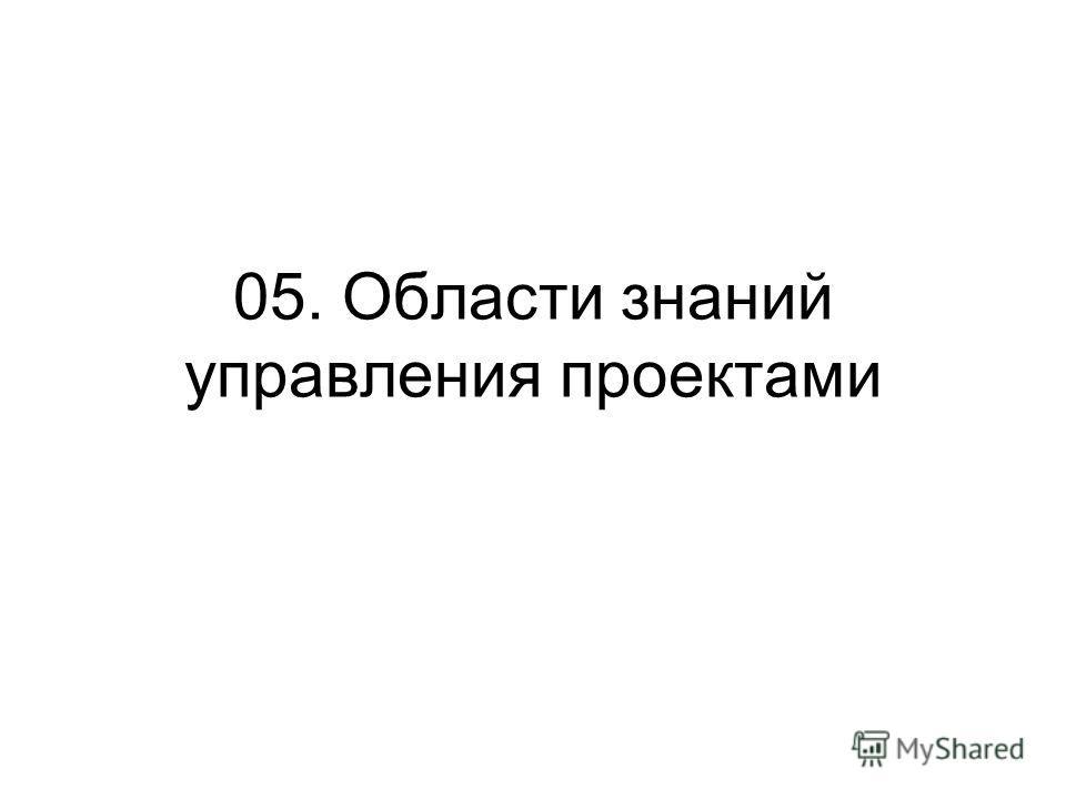 05. Области знаний управления проектами