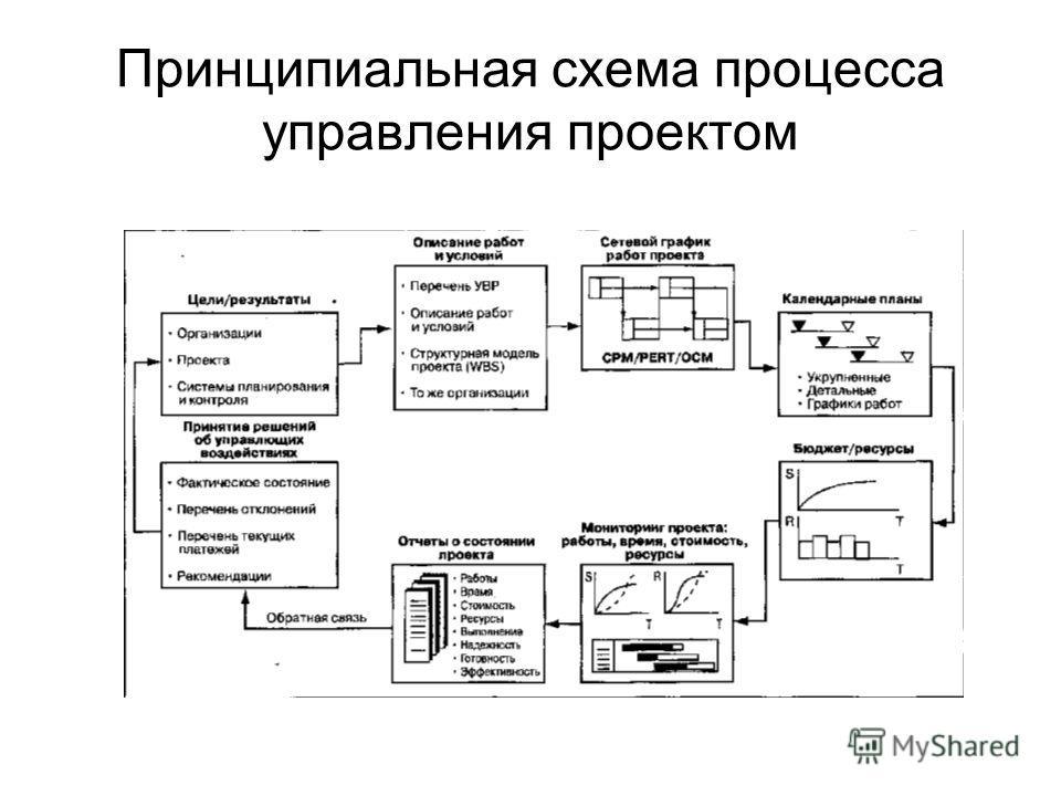 Принципиальная схема процесса управления проектом
